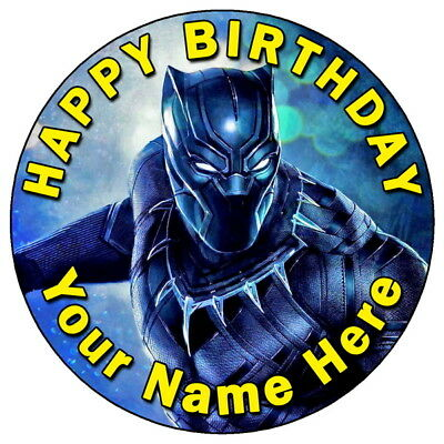 """Black Panther Marvel Avengers - 7.5"""" Personalised Edible Icing Cake Topper (2)"""