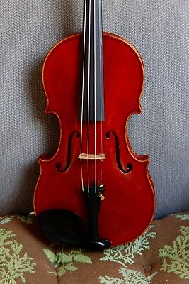 "Beautiful Old antique 4/4 violin labeled ""Heinrich Th. Heberlein Jr. 1928"""