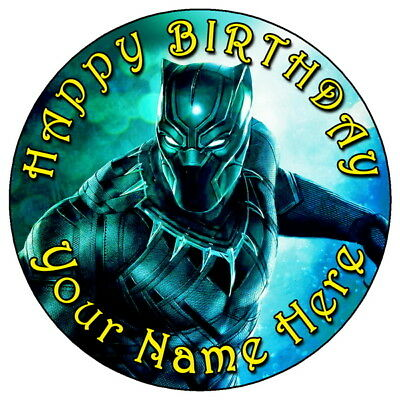 """Black Panther Marvel Avengers - 7.5"""" Personalised Edible Icing Cake Topper (3)"""