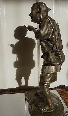 Antique Sculpture - Pewter or Spelter- possible Chinese fine detailed fisherman.
