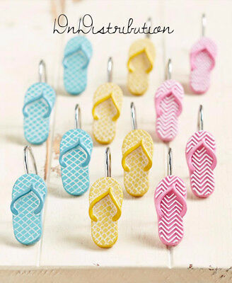 Flip Flop Bathroom Shower Curtain Hooks Coastal Beach Summer Themed Ceramic NEW