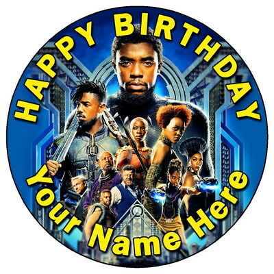 """Black Panther Marvel Avengers - 7.5"""" Personalised Edible Icing Cake Topper (5)"""