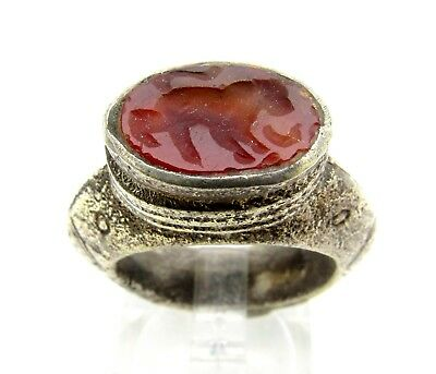 Post Medieval Silver Ring With Carved Intaglio Stone Depicting Beast  - B499