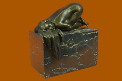 Signed Phoc French Artist Nude Girl Bronze Sculpture Statue Figure Figurine Art