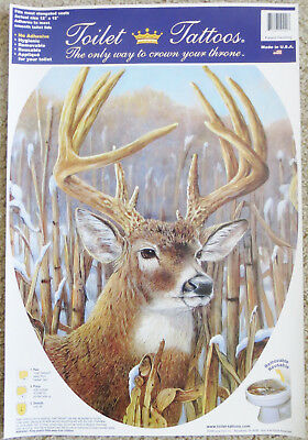 Classy Deer Bathroom Cover Toilet Tattoo Decal 12 x 15 in