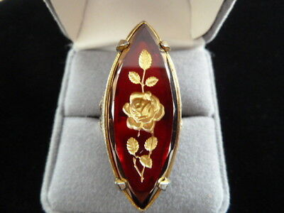 Vintage Large Red Marquise Glass Intaglio Gilded Rose Gold Tone Adjustable Ring