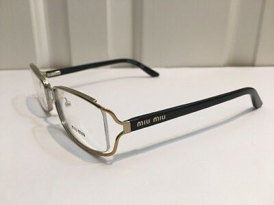 Miu Miu By Prada Gold Oval W/ Black Arm Glasses St# VMU 51H DEMOS/FLOOR MODELS!