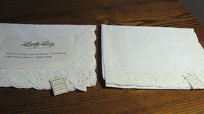 "2 Pair Vintage White Embroidered ""Lovely Lady"" Daisy? Eyelet Curtains 39x36L F21"