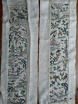 Lovely pair of Chinese silk embroideries on white damask