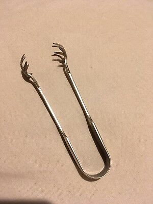 Antique/vintage silver plated sugar tongs/nips with claw feet