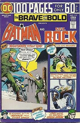 The Brave and the Bold #117. Feb-Mar 1975. DC. Batman and Sgt. Rock. VG/FN.