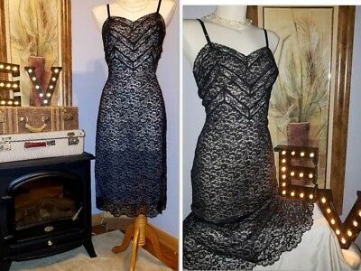 Vtg VAN RAALTE  Full Slip Nightgown Dress 36 BLK Nylon Chiffon Lace ZIPPER NEW