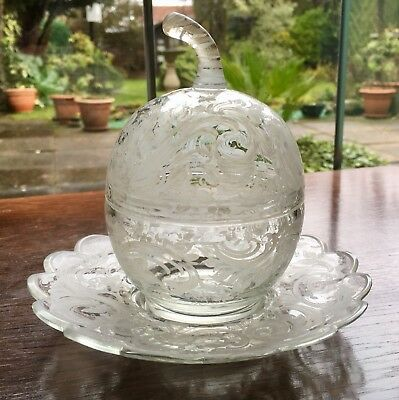 Antique Rare Etched Glass Apple Preserves Lidded Pot And Saucer