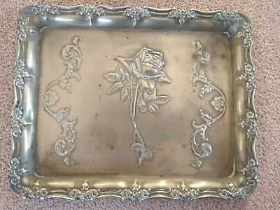 Vintage EPNS Silver Tray with Ornate Edges and Rose 24 x 19 cm