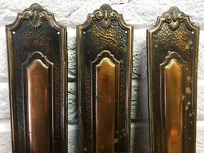 """1 x Vintage Copperised Pressed Metal Door Finger/Push/Plate 11 1/4""""(3 Available)"""