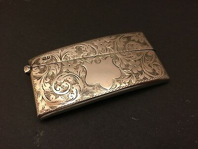 Antique Solid Sterling Silver Card Case Curved Form Art Nouveau Style
