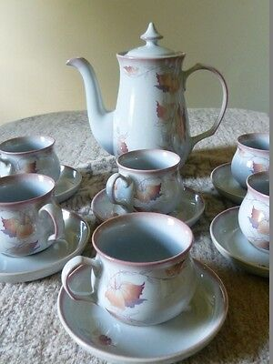 VINTAGE DENBY 'Twilight' COFFEE POT and SET of 6 CUPS & 6 SAUCERS Excellent Cond