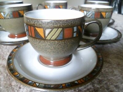 DENBY 'Marrakesh' SET of Six Tea Cups and Saucers 12 Pieces. In Excellent Cond.