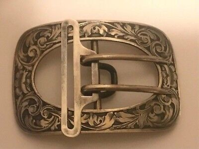 ANTIQUE TIFFANY & CO MAKERS STERLING SILVER BELT BUCKLE with holder 36 Grams