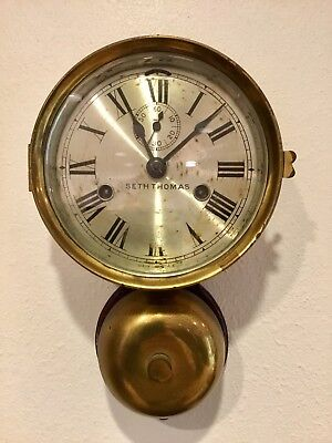 1910 Seth Thomas Ship's Naval Watch Clock External Bell Key Strike Lever