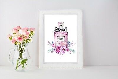 Perfume Bottle Print Poster Flowers Wall Art A4 A3 Fashion Beauty Her - 1031