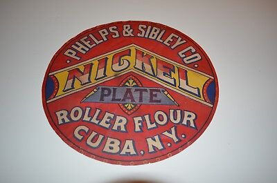 Rare Nickel Plate Rolled Flour Barrel End Paper Advertising Sign Cuba Ny Antique