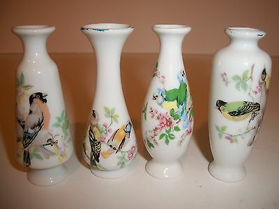 "Miniature Porcelain Vases With Birds Set of 4 - 3"" Tall"