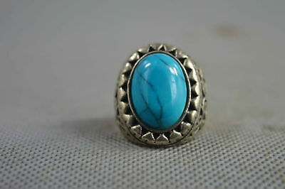 Chinese Collectable Handwork Miao Silver Inlay Turquoise Bring Happiness Ring