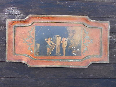 """Antique decorative wooden tray  sideboard/hall table - cherub/fairy - 16"""" x 8"""""""