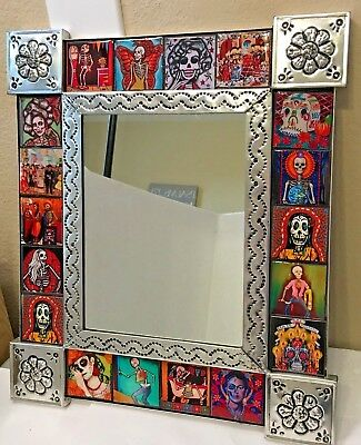 Talavera Mirror Punched Tin Day of the Dead Tile Mexican Folk Art Pottery 14.75""
