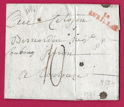 Marque Rouge 14 Aurillac Cantal 1794 Toulouse Lettre Cover