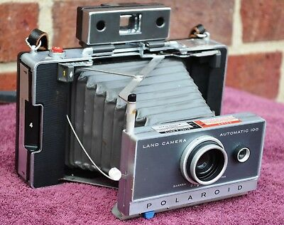 Polaroid 100 Camera w/ Manual, New AAA Battery Converter, Film TESTED, Works!