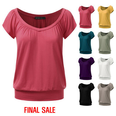 [FINAL SALE]Doublju Women Short Sleeve V neck Slim Simple Basic T-shirt