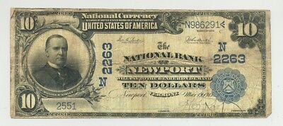 1902 $10 Plain Back The National Bank of Newport, Vermont nice looking