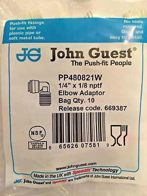 """John Guest Quick Connect Poly. Fixed Elbow Adaptor 1/4 X1/8"""" NPTF  (10-Pack)"""