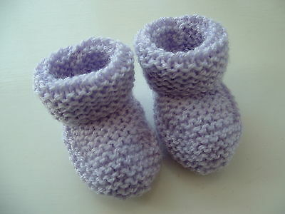 Baby Hand Knitted Bootees / Booties Prem / Doll / Newborn Pale Lilac New