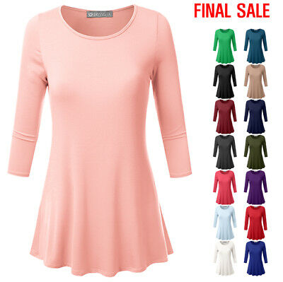 [FINAL SALE]DOUBLJU Womens Basic 3/4 Sleeve Boat Neck Tunic Top