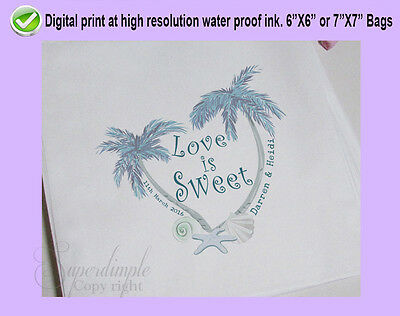 Personalised White paper Bags Wedding love Sweet Favour Buffet Tropical theme 1