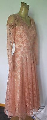 DRESS Pink LACE Long sleeve Circle skirt Genuine VINTAGE Party Cocktail Retro