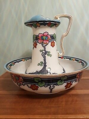 Losol Ware Antique 'Blantyre' Wash Set Pitcher & Bowl Art Nouveau Style
