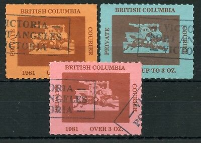 Weeda Canada B1-B3 VF used 1981 BC Private Courier issue set CV $35