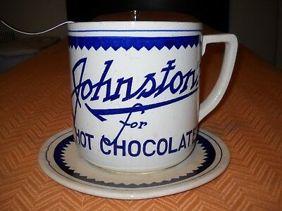 Vintage Johnston's For Hot Chocolate Large Mug With Original Cover And Ladle