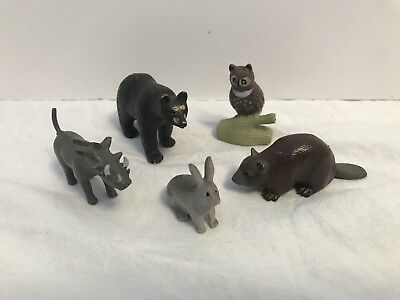 Plastic Animals Lot Of 5 K&M Int. Vintage