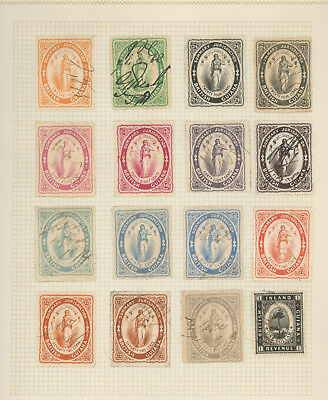 British Guiana very nice collection of REVENUE STAMPS on old page, seldom seen