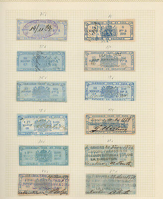 Belgium collection of mint and used REVENUE STAMPS on old album pages, very nice