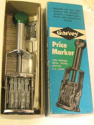Vintage Garvey Price Marker 169 NEW Metal Rubber Stamp Country Store w/ Box