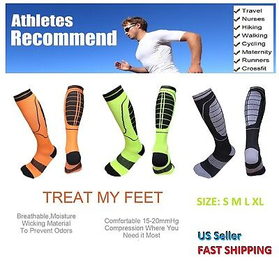 Compression Socks Support Stockings Graduated Men's Women's 3 Pairs (S M L XL)