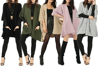 Womens Ladies Box 3/4 Sleeve Open Front Knitted Cardigan Wrap Cape Shawl UK 8-14