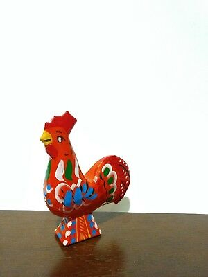 Vintage Swedish Hand Carved Painted Wooden Rooster Folk Art Wooden Rooster Dala