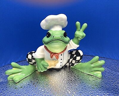 """New Peace Frogs """"Chef Frog"""" Ceramic Figurine, By Westland No.18839 / No Box"""